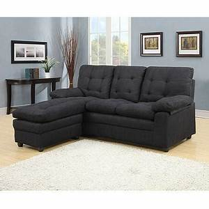 Buchannan microfiber sectioal sofa with from walmart for Black microfiber small sectional sofa with reversible chaise ottoman