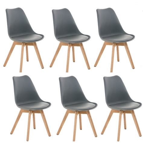 chaises lot de 6 lot de 6 chaises de salle à manger scandinave simili cuir gris pieds bois cds10202 décoshop26