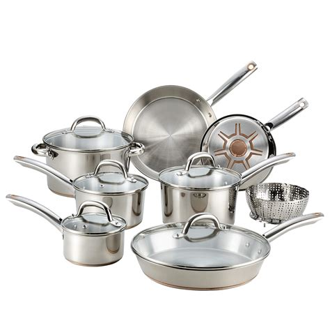 fal csd ultimate stainless steel copper bottom  pc cookware set piece silver buy