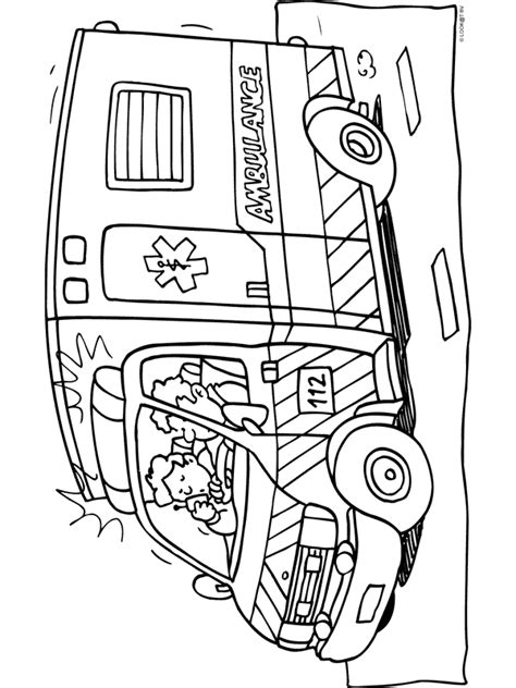 Kleurplaat Ziekenauto by Kleurplaat Ambulance Kleurplaten Nl