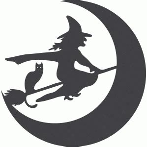 witch  kitty halloween vinyl witch silhouette