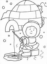 Coloring Eskimo Igloo Fishing Sheet Pages Boys sketch template
