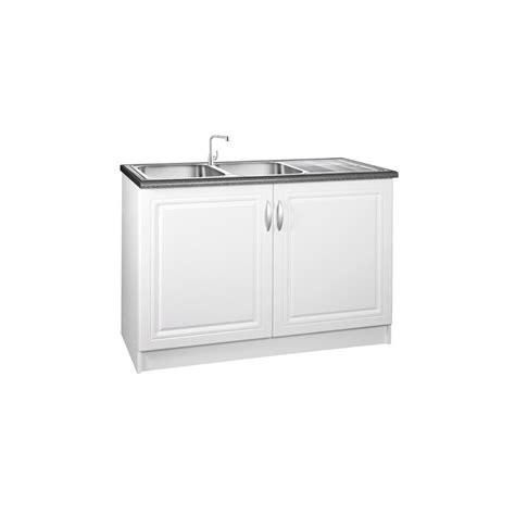 meuble de cuisine 120 cm meuble de cuisine sous évier 2 portes 120 cm dina en mélaminé avec 1 étagère