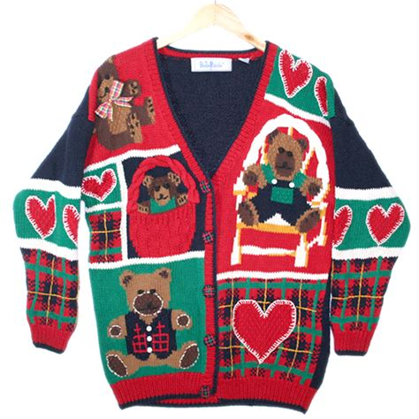 igly sweater teddy bears and hearts vintage 90s chunky tacky valentines