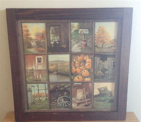 """Vintage """"home Interior"""" Window Pane Picture  I Think"""