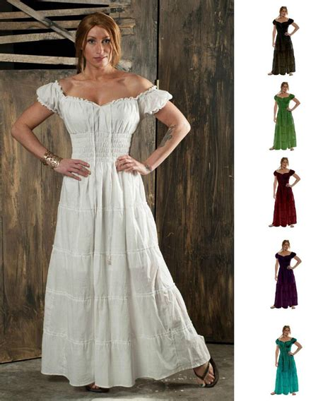renaissance pirate peasant wench costume boho 100 cotton gown sun dress pirate wench