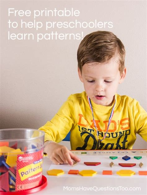 patterns with pattern blocks for preschoolers 902 | Patterns Activities for Preschoolers Moms Have Questions Too 499x665
