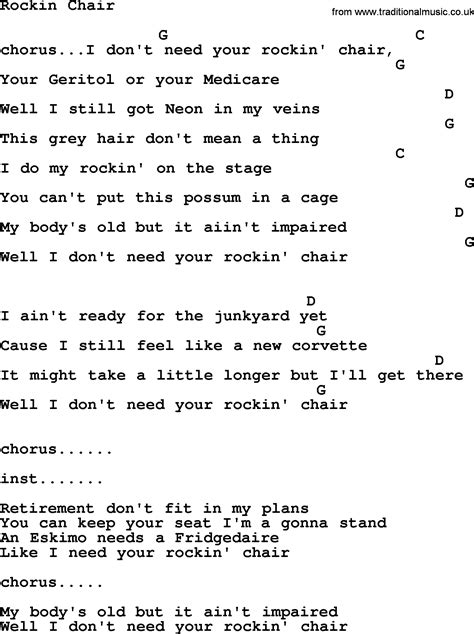 george jones rockin chair chords rockin chair by george jones counrty song lyrics and chords