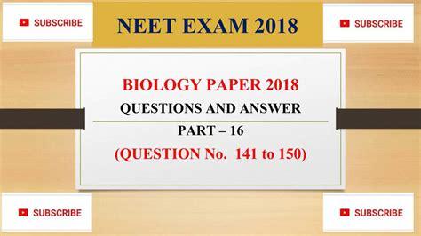 answer key  neet paper  part    neet
