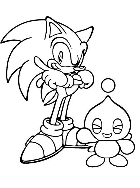 Coloring Page Sonic X And Cheese The Chao