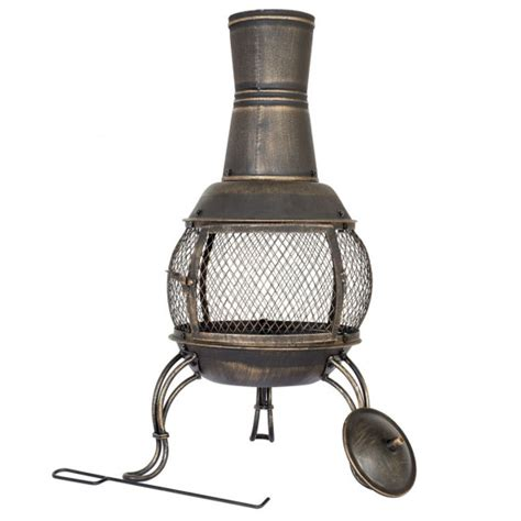 La Hacienda Steel Chiminea by La Hacienda Medium Steel Chiminea Bronze Fireplaces