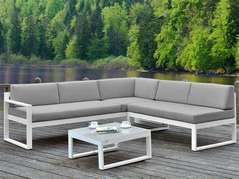 salon de jardin canapé salon jardin palaos canapé angle relevable table gris