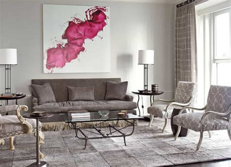 Modern Gray Living Room With Abstract Wall Art