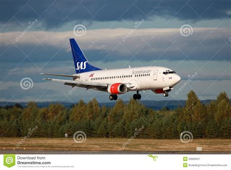 sas scandinavian airlines boeing 737 500 editorial photo
