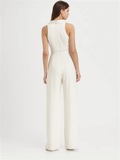 white denim jumpsuit theia sleeveless silk jumpsuit in white lyst