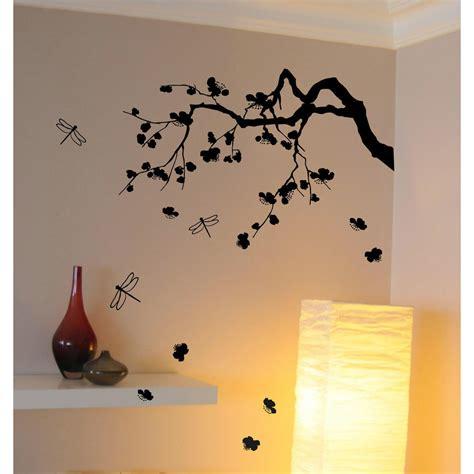 chambre aubergine et blanc sticker cerisier japonais déco murale salon