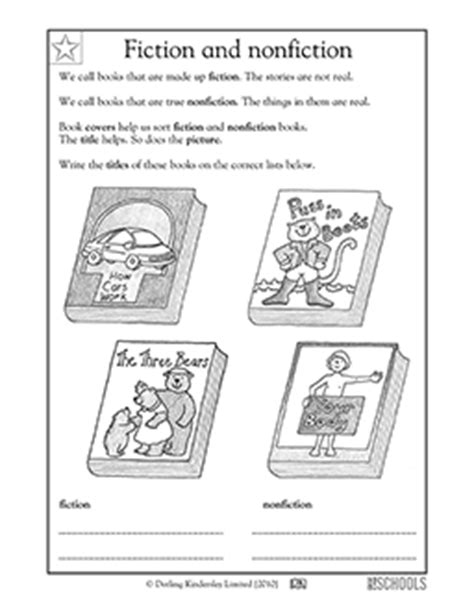 kindergarten reading writing worksheets fiction and