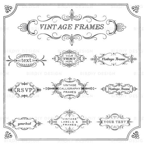 vintage frames clip art set ornate calligraphic