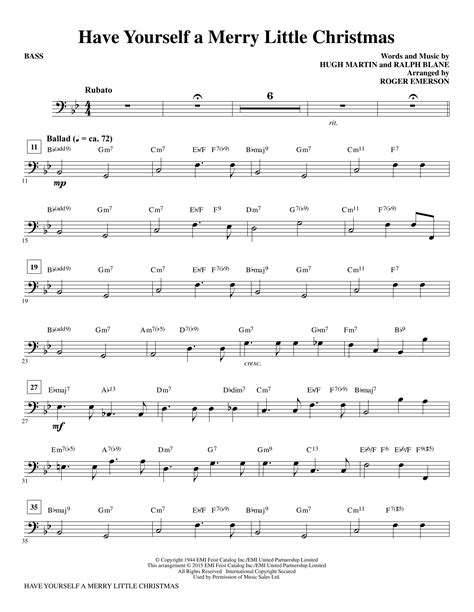 Have Yourself A Merry Little Christmas  Bass Sheet Music