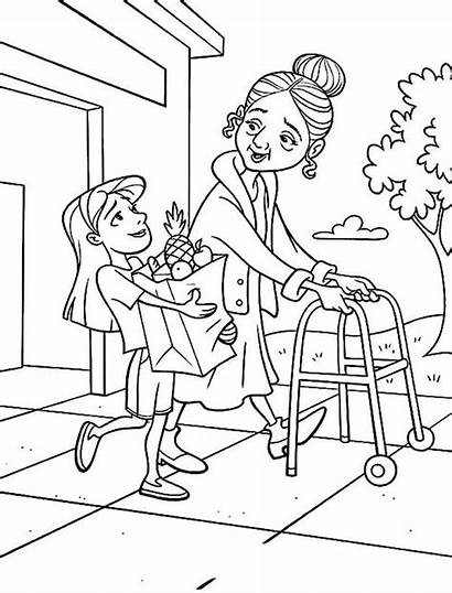 Helping Coloring Drawing Printable Elderly Template Person