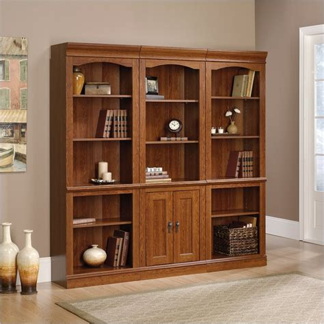 sauder bookcase with sauder camden county library wall planked cherry bookcase