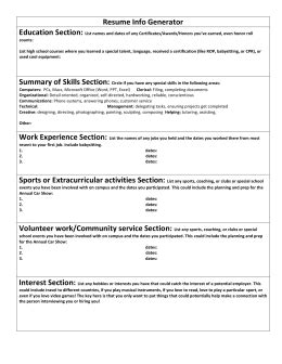 Resume Profile Generator by Personal Profile Exles Tomorrow S Tomorrows