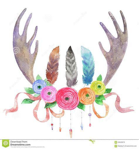 watercolor illustration  boho ethnic style stock