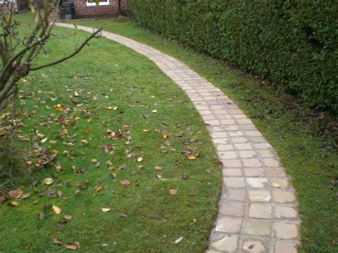 curved garden path sheffield landscaper gallery patios decking ponds fencing sleepers