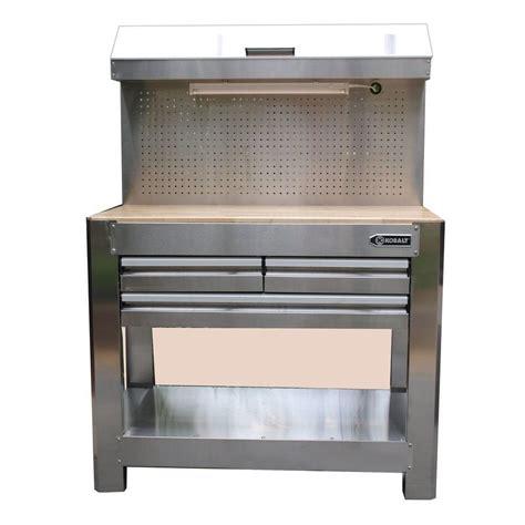kobalt heavy duty stainless steel  drawer workbench