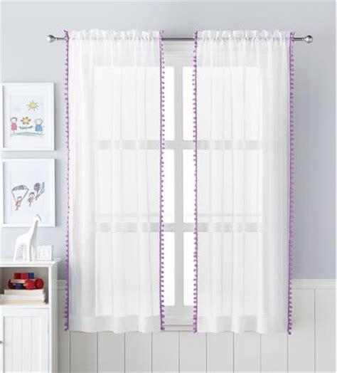 sheer curtains walmart canada mainstays pom pom sheer rod pocket panels walmart