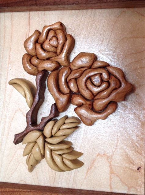 wooden rose flower intarsia intarsia scroll