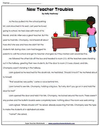 a back to school reading comprehension passage reading