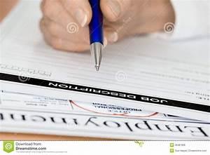 Hand With Pen Writing Employee Job Description Royalty