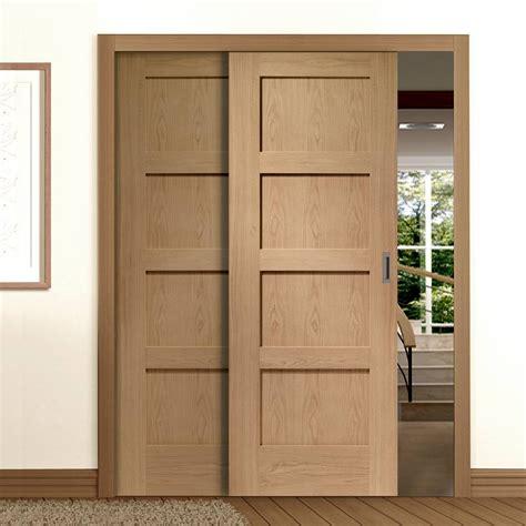 easi slide op3 oak shaker 4 panel sliding door system in
