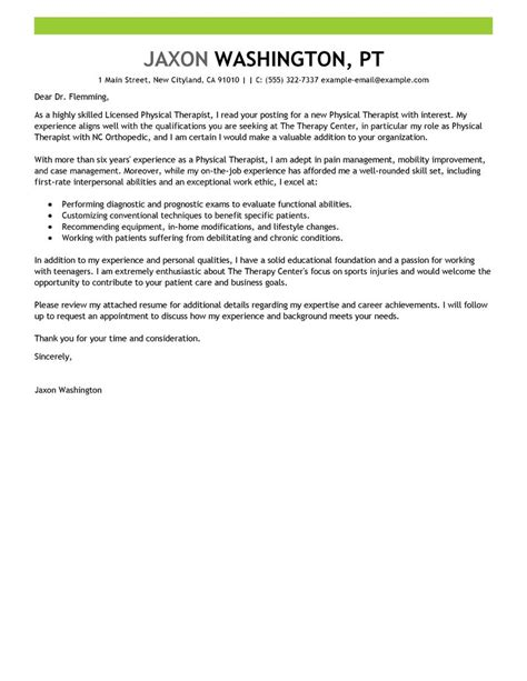 Sle Cover Letter Therapist Leading Professional Physical Therapist Cover Letter Exles Resources Myperfectcoverletter