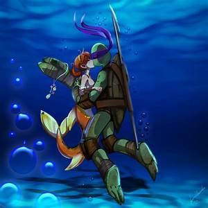 Donatello+April 'Ninja Sea Turtle Love by JasmineAlexandra ...