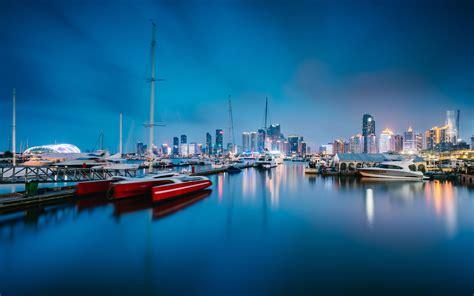 china sailing capital qingdao harbor night preview