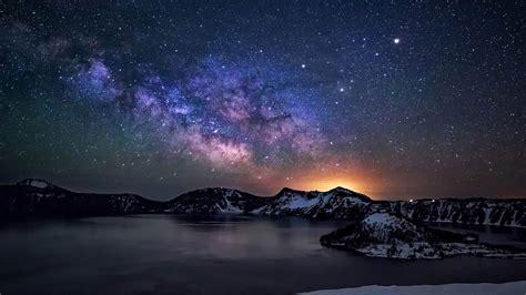 Crater Lake Night Sky With Star Milkyway Desktop Wallpaper