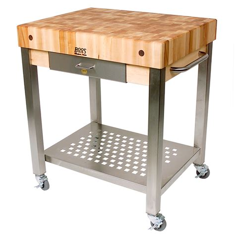butcher block cutting board boos technica kitchen trolley with chopping board