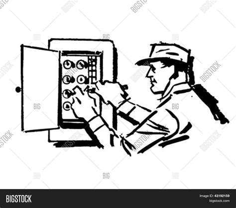 11271 electrician clipart black and white electrician at work retro clip illustration stock