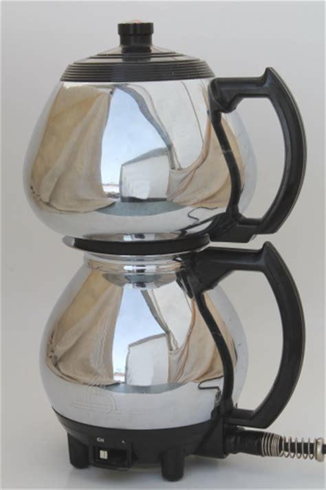 Also known as vac pot, siphon. Vintage Sunbeam Coffeemaster vacuum percolator coffee pot, deco chrome coffee maker