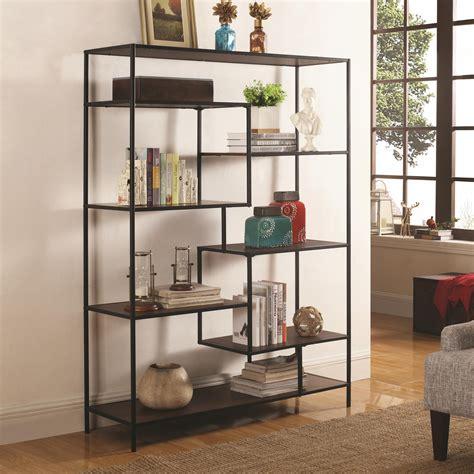 Modern Furniture Bookcase by Coaster Bookcases Modern Bookcase With Offset Shelves