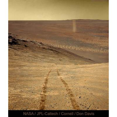 Mars rover up high spies a dust devilToday's Image