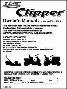 Rover Clipper 405012x108a Users Manual