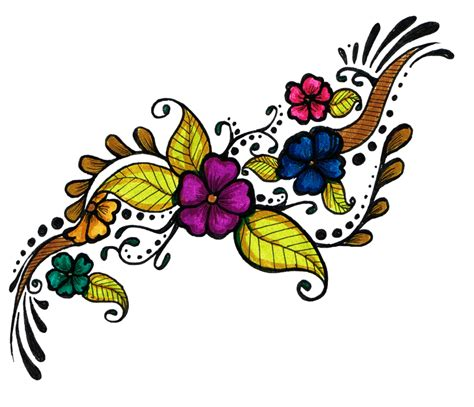 colorful flowers tattoo design png transparent image