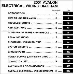 2001 Toyota Avalon Wiring Diagram Manual Original