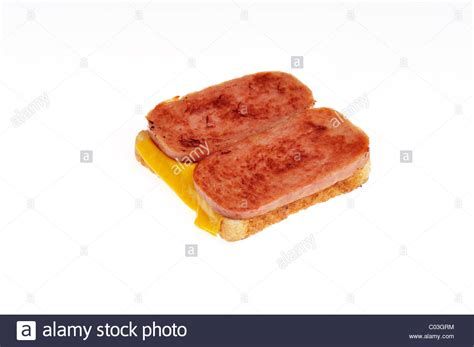 Open-faced Hormel foods Spam white sandwich bread with ...