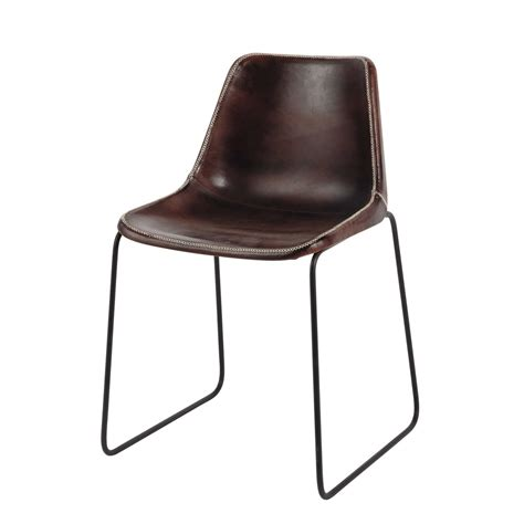leather and metal industrial chair in brown waterloo