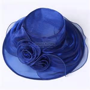 robe de ceremonie mariage pas cher chapeau femme mariage soirée capeline pas cher en organza bleu royal avec bord ruché flottant et