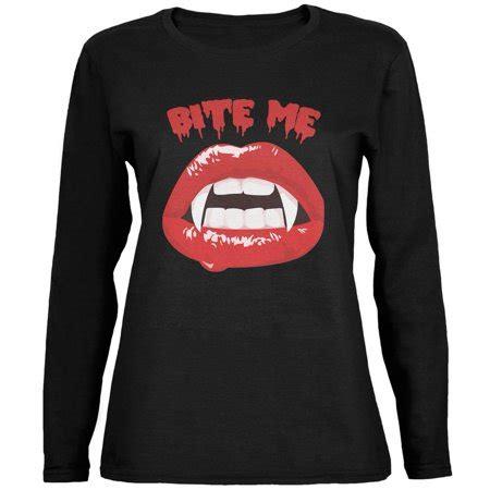 halloween vampire bite  black womens long sleeve  shirt